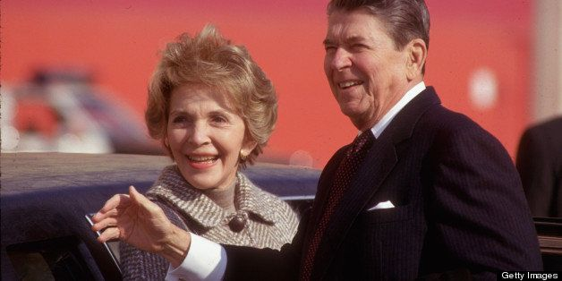 Pres. & Nancy Reagan arriving for Christmas holiday sojourn in LA, CA.  (Photo by Dirck Halstead//Time Life Pictures/Getty Im