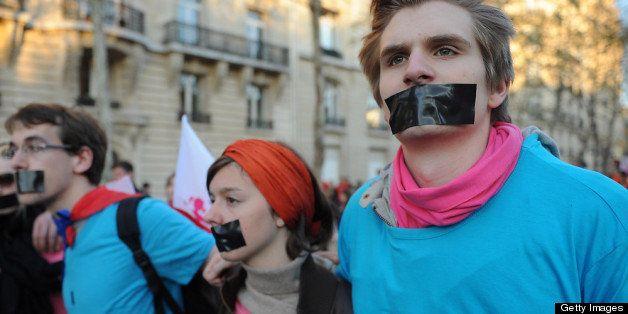 PARIS, FRANCE - APRIL 23:  Anti-same sex marriage activists of the anti-gay marriage movement 'la Manif pour Tous' protest du