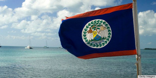 Belizean flag on a boat, Ambergris Caye, Belize