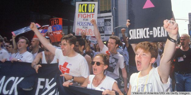Demonstrators chanting at AIDS rally, New York City, New York (Photo by Visions of America/UIG via Getty Images)