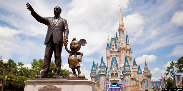 UNITED STATES - AUGUST 31:  'Partners,' a statue of Walt Disney and Mickey Mouse, sits in front of Cinderalla Castle at Magic
