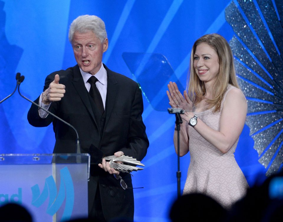 LOS ANGELES, CA - APRIL 20:  Former President of the United States Bill Clinton accepts the Advocate for Change Award with Ch