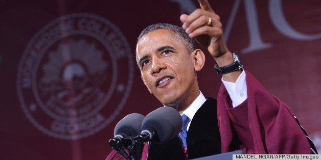 US President Barack Obama delivers the commencement address during a ceremony at Morehouse College on May 19, 2013 in Atlanta