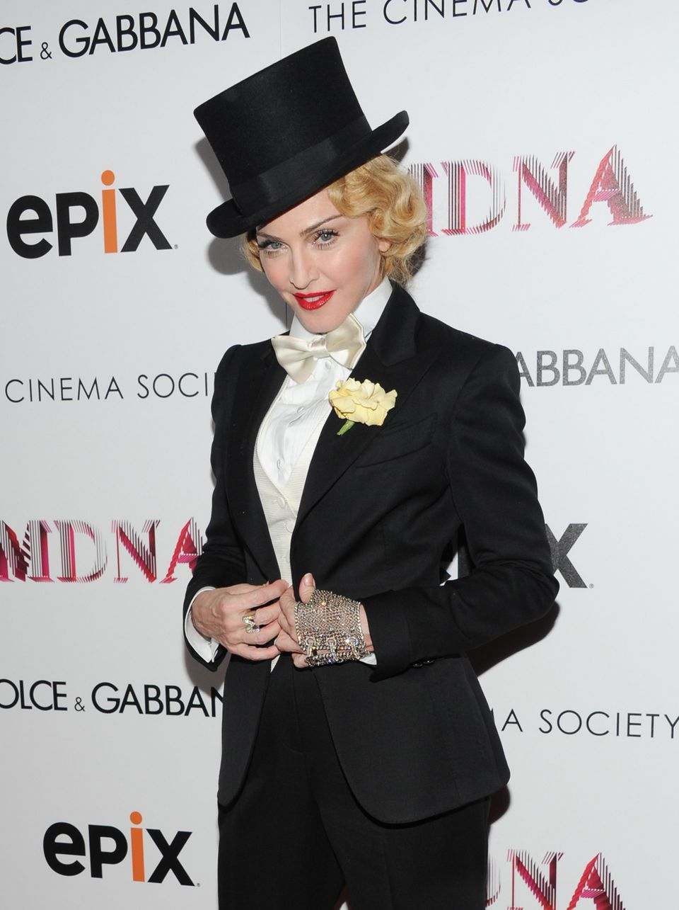 "Madonna attends the world premiere of ""Madonna: The MDNA Tour"" at the Paris Theatre on Tuesday, June 18, 2013 in New York. (P"