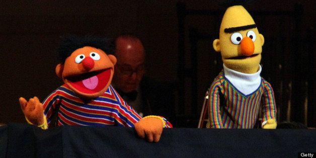 NEW YORK, NY - APRIL 14:  (L-R) Bert and Ernie perform during The New York Pops Present 'Jim Henson's Musical World' at Carne