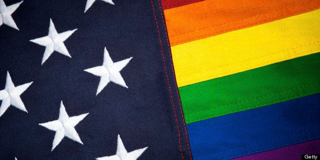 Gay pride American flag with thick textured stars and rainbow stripes