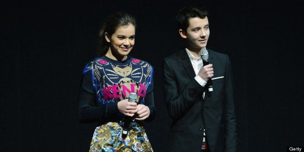 LAS VEGAS, NV - APRIL 18:  Actress Hailee Steinfeld (L) and actor Asa Butterfield speak during a Lionsgate Motion Picture Gro