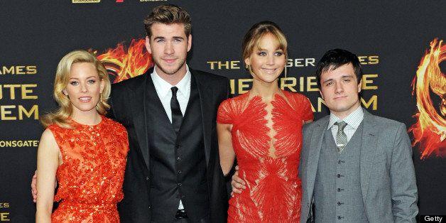 BERLIN, GERMANY - MARCH 16: (L-R) Elizabeth Banks, Liam Hemsworth, Jennifer Lawrence and Josh Hutcherson attend the Germany p