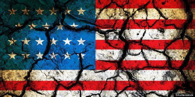 usa flag on cracked earth