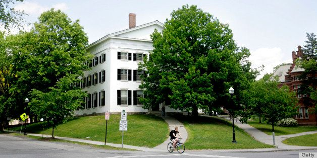 UNITED STATES - JUNE 02:  A man rides a bike on the campus of Dartmouth College, the smallest school in the Ivy League, in Ha