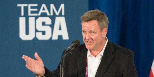 LONDON, ENGLAND - JULY 27: Scott Blackmun speaks to members of the 2012 Team USA at the University of East London on July 27,