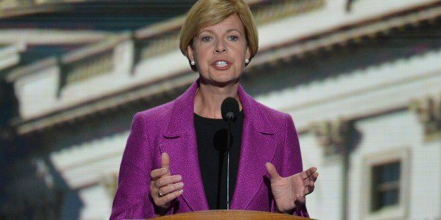 Wisconsin Congresswoman Tammy Baldwin speaks at the Time Warner Cable Arena in Charlotte, North Carolina, on September 6, 201