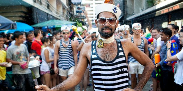[UNVERIFIED CONTENT] Gay men dressed up as Sailors Marching through soi 4 in Silom Bangkok. Songkran, 2012