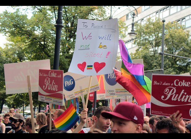 "The ""Stop Homophobia"" rally in Berlin started on the popular Kurfurstendamm street. Many demonstrators shared messages relati"