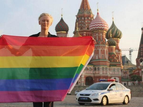 A photograph of the Academy Award-winning actress  defending Russia's beleaguered lesbian, gay, bisexual and transgender (LGB