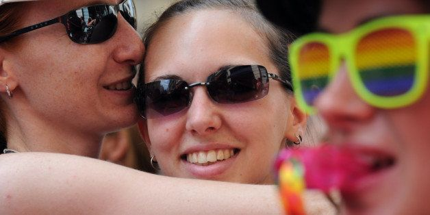 People take part in the gays, lesbians, bisexuals and supporters of equal rights for sexual minorities march, the Europride p