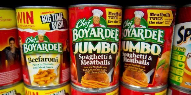 ConAgra Foods Inc. Chef Boyardee brand spaghetti and meatballs sits on display at a supermarket in Princeton, Illinois, U.S.,