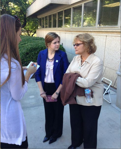 Rev. Robin Tanner and Rev. Ann Marie Alderman speaking with media after being denied.