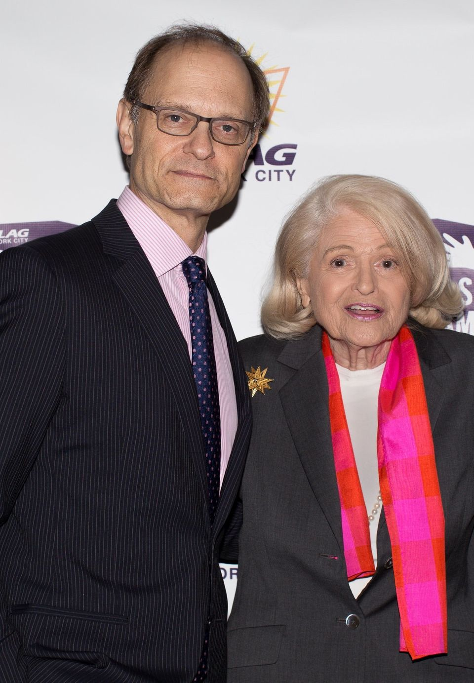 """David Hyde Pierce, emcee for the 40th Anniversary PFLAG NYC Awards Dinner, with Edie Windsor, winner of the PFLAG NYC """"Stay C"""