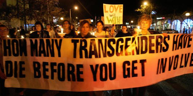 West Hollywood, UNITED STATES:  Members of the Gay, Lesbian and Transgender community demonstrate during the 'Transgender Day