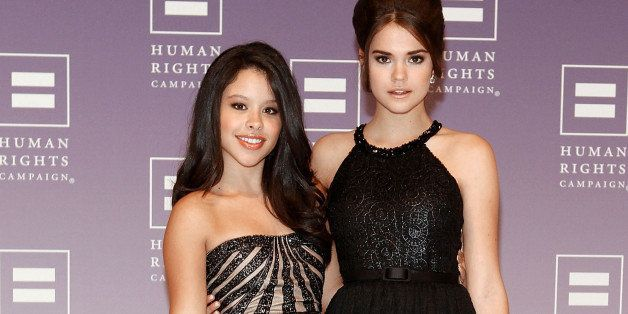 WASHINGTON, DC - OCTOBER 05:  Actresses Cierra Ramirez (L) and Maia Mitchell of 'The Fosters' attend the 2013 HRC National Di