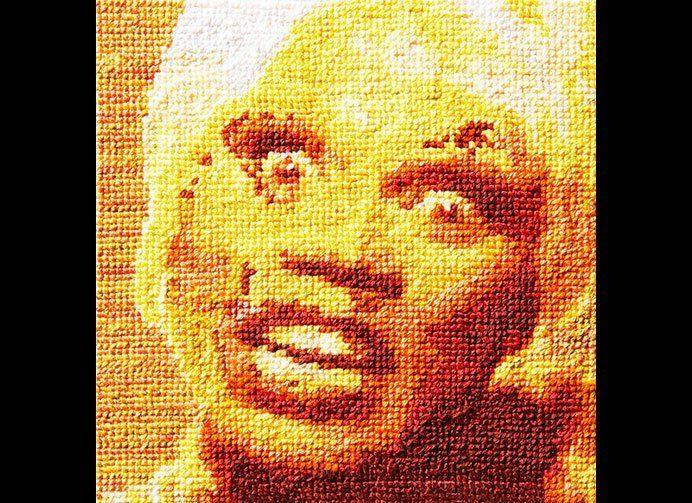 <em>Cross-stitch by Lauren Cunningham, 5.5 x 5.5 inches, 2013. Photo: Aubrey Longley-Cook</em>