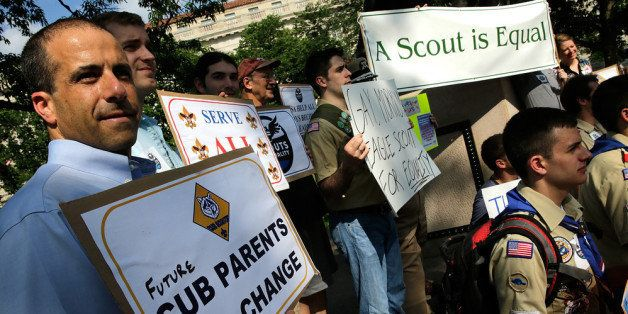 WASHINGTON, DC - MAY 22:  Members of Scouts for Equality hold a rally to call for equality and inclusion for gays in the Boy