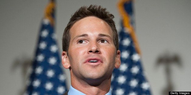 UNITED STATES - JULY 16: Rep. Aaron Schock, R-Ill., speaks to the media following the Republicans' 'America Speaking Out' for