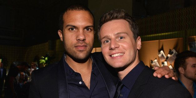 HOLLYWOOD, CA - JANUARY 15:  Actors O-T Fagbenie and Jonathan Groff attend the after party for the premiere of HBO's 'Looking