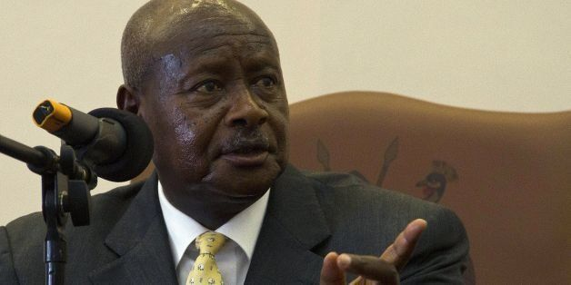 Ugandas President H.E Yoweri Museveni speaks after he signed the Anti-Homosexuality Bill on February 24, 2014 in Entebbe. The