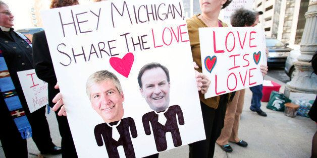 DETROIT, MI - OCTOBER 16: People in favor of same-sex marriage rally at the U.S. Courthouse where U.S. District Judge Bernard