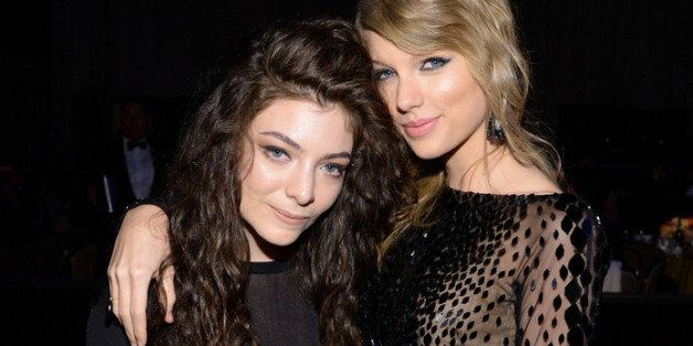 BEVERLY HILLS, CA - JANUARY 25:  Recording artists Lorde (L) and Taylor Swift attend the 56th annual GRAMMY Awards  Pre-GRAMM