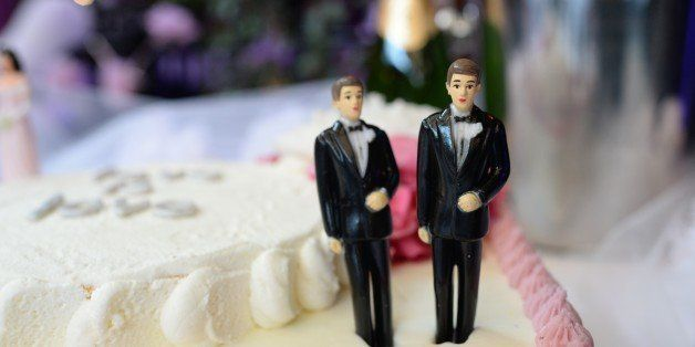 A wedding cake with a male couple is seen at The Abbey restaurant at a celebration of the over100 same-sex marriages performe
