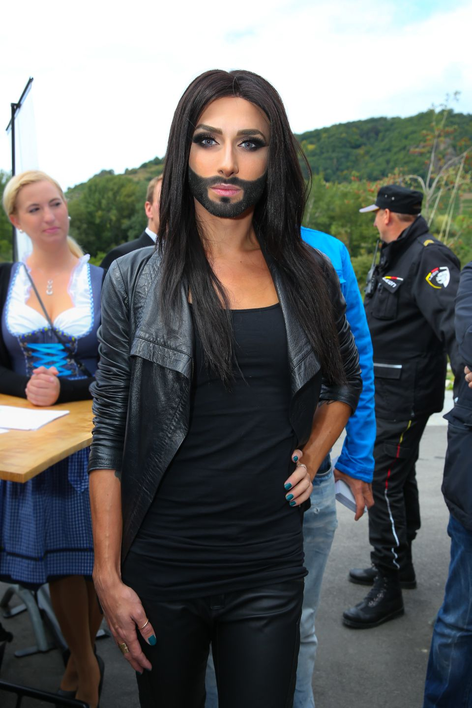 ROSSATZ, AUSTRIA - SEPTEMBER 21: Conchita Wurst attends the startalk prior the 'Starnacht aus der Wachau' at Heuriger Polz on