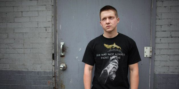 MANHATTAN, NY - APRIL 15: Landon Wilson, 24, poses for a portrait outside of his temporary dwelling in Manhattan, NY, on Apri
