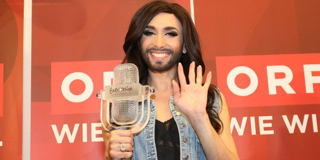 VIENNA, AUSTRIA - MAY 11:  Conchita Wurst attends a press conference after winning the Eurovision Song Contest 2014 at the ai