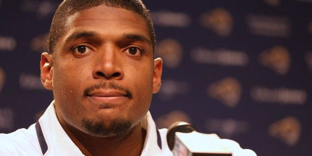 EARTH CITY, MO - MAY 13: St. Louis Rams draft pick Michael Sam addresses the media during a press conference at Rams Park on