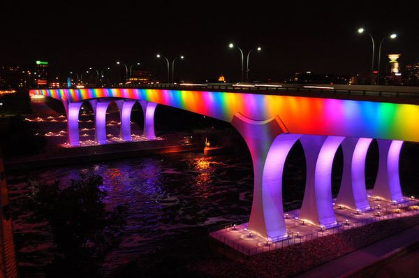 After Minnesota became the 12th state to legalize gay marriage, even the infrastructure showed the state's pride. The 1-35W b