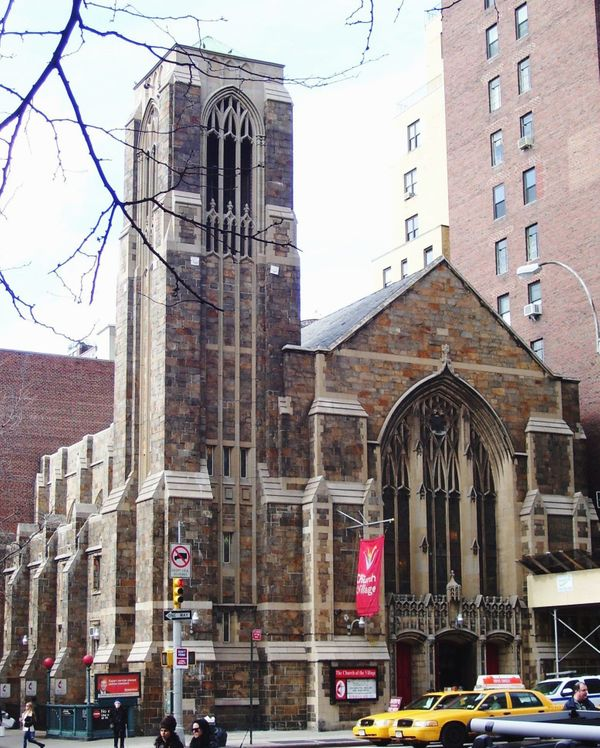 "Located at Seventh Avenue and West 13th Street in New York, the <a href=""http://www.churchofthevillage.org/"" target=""_blank"">"