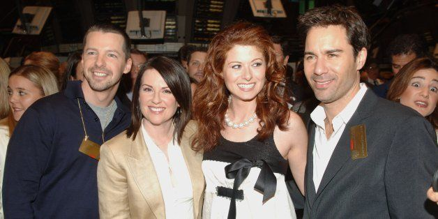 NEW YORK - MAY 18: (L-R) Sean Hayes, Megan Mullally, Debra Messing, and Eric McCormack from the Cast of 'Will and Grace' walk