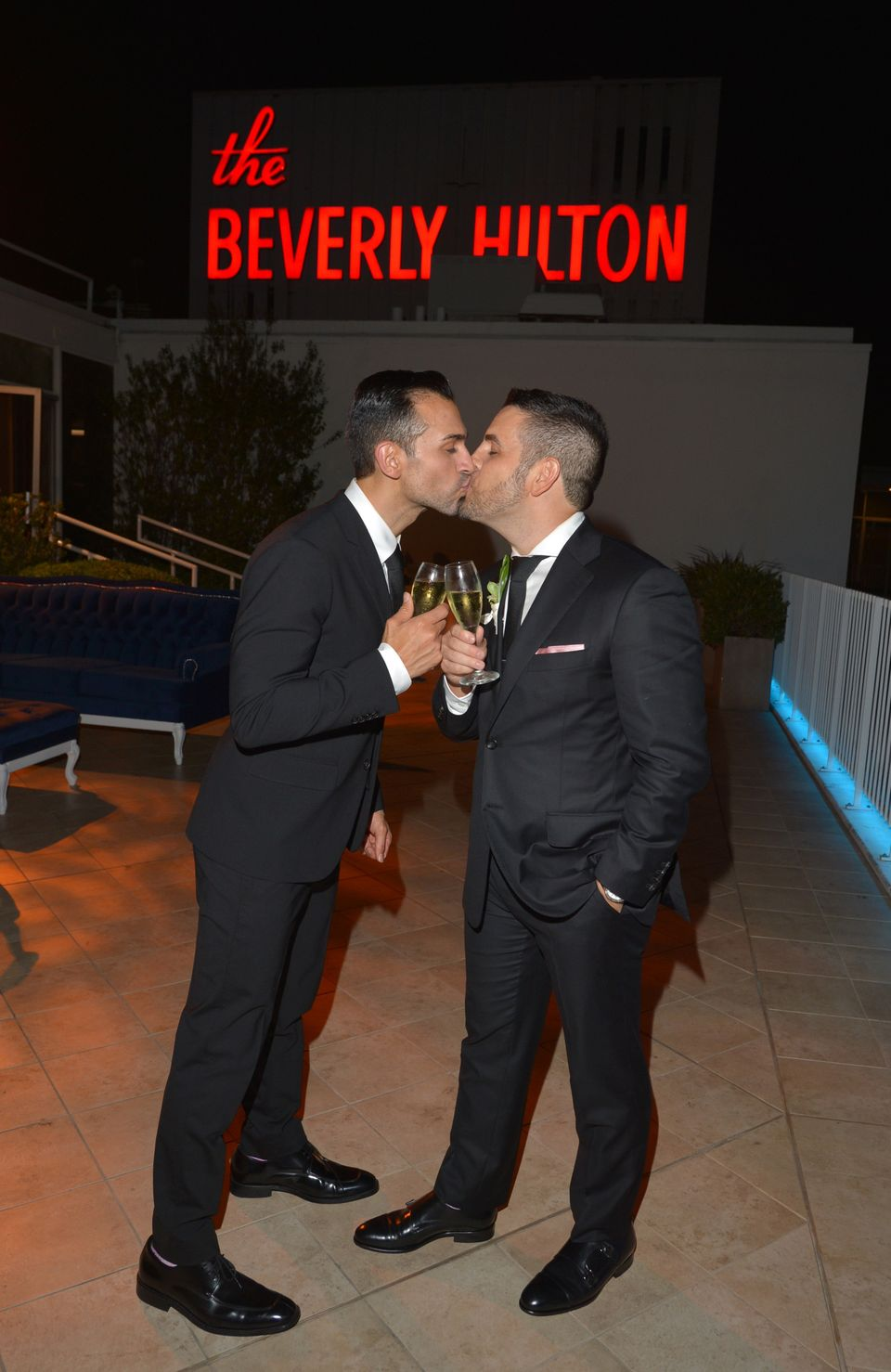 BEVERLY HILLS, CA - JUNE 28:  Newlywed couple and Proposition 8 Plaintiffs Paul Katami (L) and Jeff Zarrillo share a kiss aft