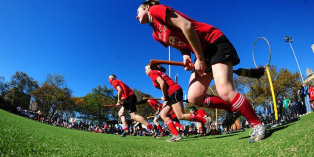 Competitors take part in a match of Quidditch, Harry Potter's magical and fictional game, during the 4th Quidditch World Cup,