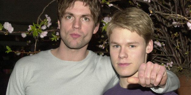 386869 11: Actors Gale Harold, left, and Randy Harrison pose for photographers during a party for the Showtime television sho