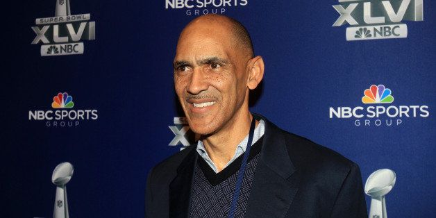 INDIANAPOLIS, IN - JANUARY 31:  NBC studio analyst Tony Dungy looks on during the Super Bowl XLVI Broadcasters Press Conferen