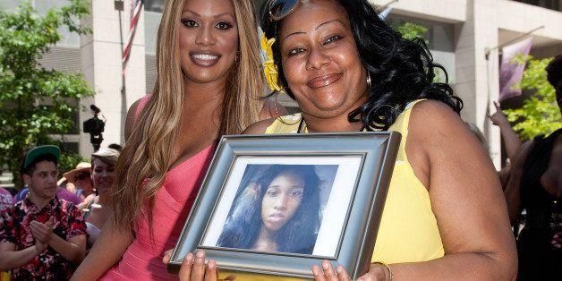 NEW YORK, NY - JUNE 29:  Grand Marshal Laverne Cox (L) and Delores Nettles, mother of slain transgender woman Islan Nettles,