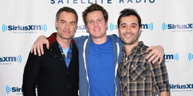 NEW YORK, NY - MARCH 06:  (L-R) Actors Murray Bartlett, Jonathan Groff and Frankie J. Alvarez of HBO's 'Looking' visit Sirius