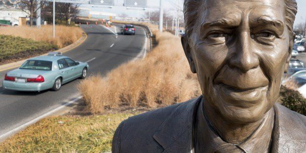 A statue of former US President Ronald Reagan is seen February 6, 2014 at the entrance to Ronald Reagan International Airport