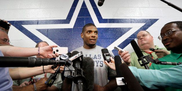 Dallas Cowboys practice squad player defensive end Michael Sam speaks to reporters after team practice at the team's headquar