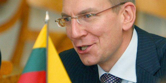 Latvian Foreign Minister Edgars Rinkevics is pictured during a meeting with Lithuania's President Dalia Grybauskaite in Vilni