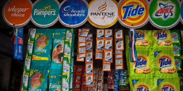 Packs of Procter & Gamble Co. Oral-B toothbrushes, from left, Head & Shoulders shampoo, Pampers diapers, Tide laundry deterge